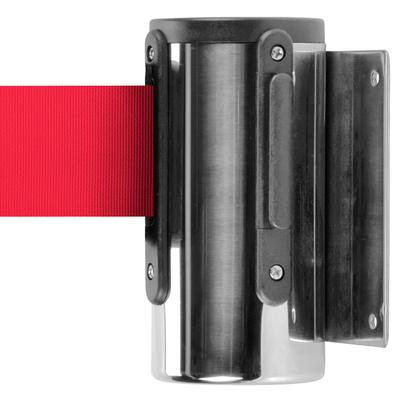 AARCO WM-7C Chrome Wall-Mount Stanchion with 7' Red Retra...