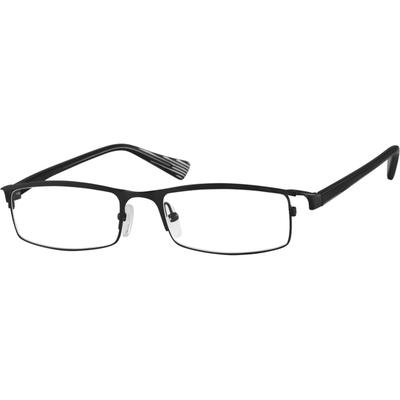 304724992d Zenni Mens Rectangle Glasses Black Frame Plastic 713421. A medium size stainless  steel full-rim frame with comfortable acetate temples.