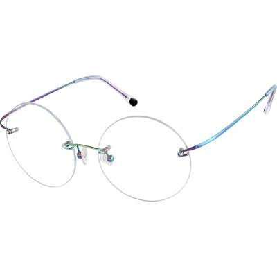 Zenni Womens Lightweight Rimless Prescription Glasses Multicolor Frame Titanium 372229