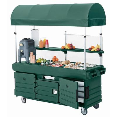 Cambro CamKiosk KVC854C519 Green Customizable Vending Cart with 4 Pan Wells and Canopy