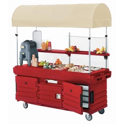 Cambro Mobile Food Kiosk with Canopy, 6 Food Pan Wells, Hot Red, KVC856C-158