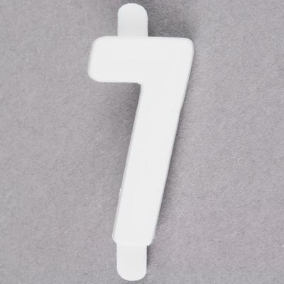 "1"" White Molded Plastic Number 7 Deli Tag Insert - 50/Set"