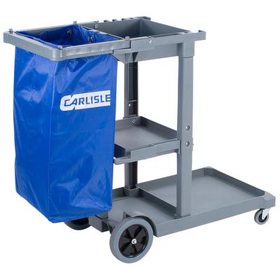 Carlisle JC1945S23 Gray Short Platform Janitor Cart