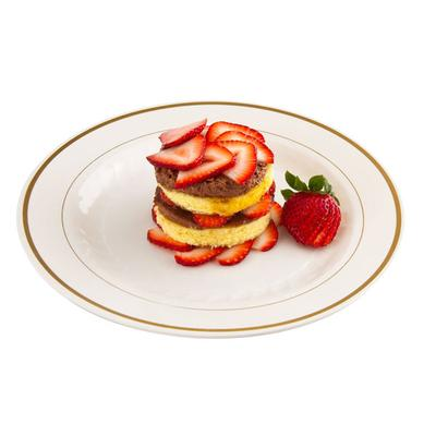 "WNA MP6IPREM 6"" Ivory Masterpiece Plastic Plate with Gold..."