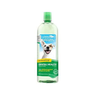 TropiClean Fresh Breath Water Additive For Cats & Dogs, 33.8-oz bottle; Until pets learn to gargle, they\'re prone to bad breath. Unfortunately bad breath means bad bacteria, and that causes many dogs and cats to develop oral disease by the time they...