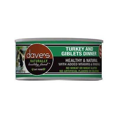 Dave's Pet Food Naturally Healthy Grain-Free Turkey & Giblets Dinner Canned Cat Food, 5.5-oz