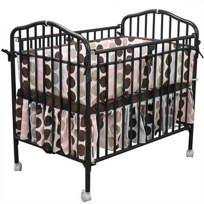 "L.A. Baby CS-81 24"" x 38"" Black Metal Folding Crib with 2..."