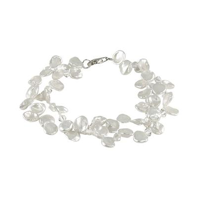Sterling Silver Freshwater Cultured Pearl and Austrian Crystal Bracelet, Women's, White