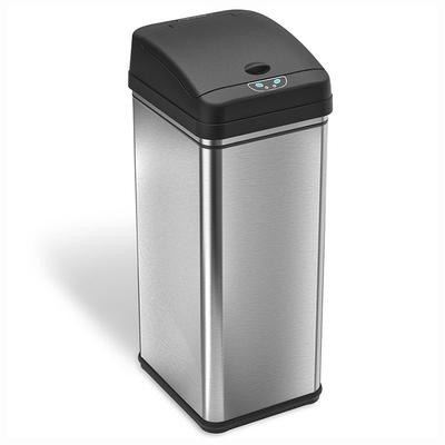 iTouchless Deodorizer 13-gallon Stainless Steel Touchless Trash Can With Carbon Filter Technology, Grey