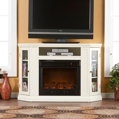 Abbey Convertible Media Console Electric Fireplace, White
