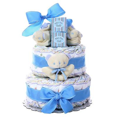 Baby Boy Baby Cakes Size 2 Diaper Cake Gift Basket, Blue
