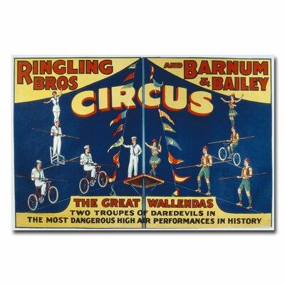"""Trademark Art """"Ringling Brothers and Barnam & Bailey Circus"""" Vintage Advertisement on Wrapped Canvas BL00381-C Size: 22"""" H x 32"""" W x 2"""" D"""