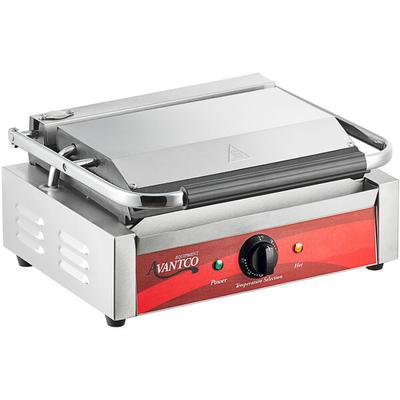 "Avantco P70S Smooth Commercial Panini Sandwich Grill - 13"" x 8 3/4"" Cooking Surface - 120V, 1750W"
