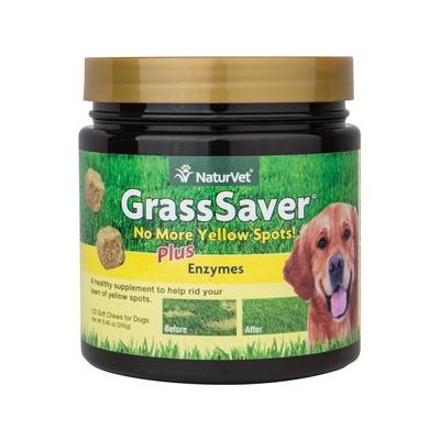 NaturVet GrassSaver Plus Enzymes Dog Soft Chews, 120 count; Does your dog\'s urine yellow the lawn? GrassSaver Soft Chews contain healthy ingredients that help to diminish those yellow spots when fed to your dog on a daily basis. Water yellow spots...
