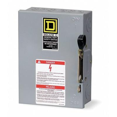 Square D 30 Amp 240VAC Single Throw Safety Switch 2P, D211N