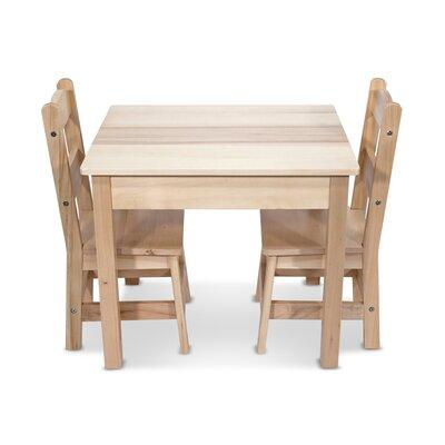 Melissa and Doug Wooden 3 Piece Rectangular Table and Cha...