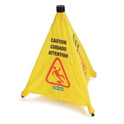 Carlisle 3694204 Caution Pop-Up Cone Floor Sign - 18x20 Multi-Lingual, Nylon, Yellow