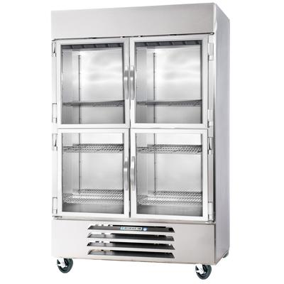 Beverage Air HBR49-1-HG-LED 2 Section Glass Half Door Bottom-Mounted Reach-In Refrigerator with LED Lighting - 49 Ft.