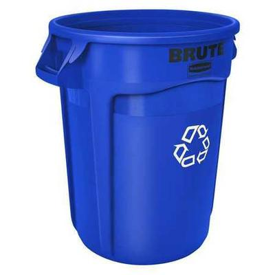 Brute 20 gal. Round Recycling Receptacle, Blue Polyethyle...