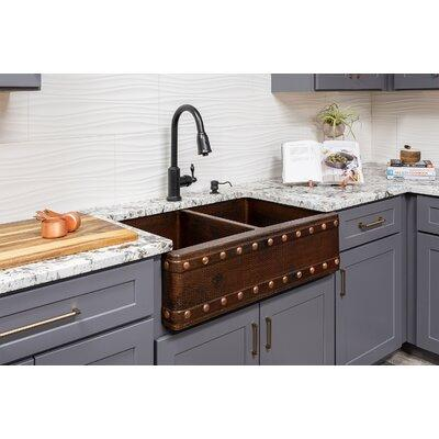 "Premier Copper Products 33"" x 22"" Apron Double Basin Kitc..."