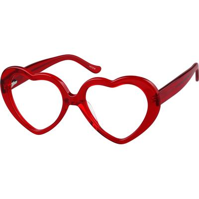 Zenni Womens Retro Heart-Shaped Prescription Glasses Red Frame Plastic 4421018