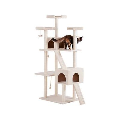 Frisco 72-in Cat Tree, Large Base, Cream; The Frisco 72-inch Large Base Cream Cat Tree is the ultimate all-in one spot for your kitty to do all the things she loves, from lounging to leaping to honing her expert hunting skills. Frisky cats can jump...