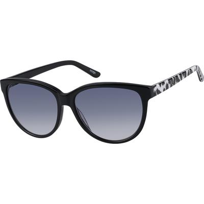 Zenni Womens Cat-Eye Rx Sunglasses Black Leopard Print Frame Plastic 111721
