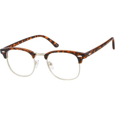 Zenni Retro Browline Prescription Glasses Tortoiseshell Frame Mixed Materials 195425