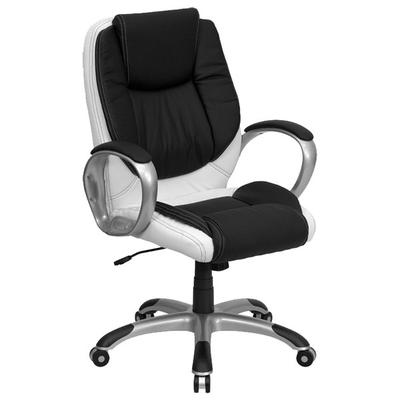 FLASH Furniture CH-CX0217M-GG Mid-Back Black and White Le...