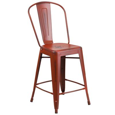 FLASH Furniture ET-3534-24-RD-GG Distressed Kelly Red Met...