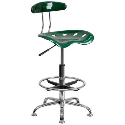 FLASH Furniture LF-215-GREEN-GG Green Drafting Stool with...