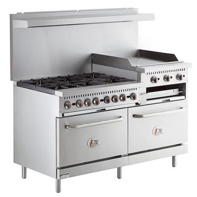 """Cooking Performance Group S60-GS24-L Liquid Propane 6 Burner 60"""" Range with 24"""" Griddle/Broiler and 2 Standard Ovens - 276,000 BTU"""