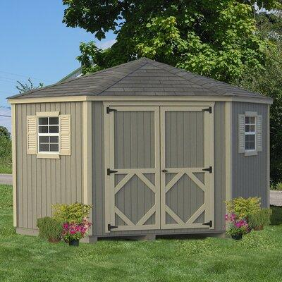 Little Cottage 10 x 10 ft. 5-Sided Classic Panelized Garden Shed, As Shown