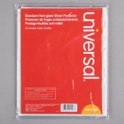 """Universal UNV21126 8 1/2"""" x 11"""" Clear Standard Weight Non..."""