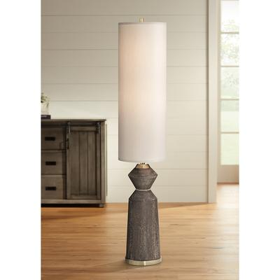 Taboo Brown Sculpted Faux Wood Column Floor Lamp