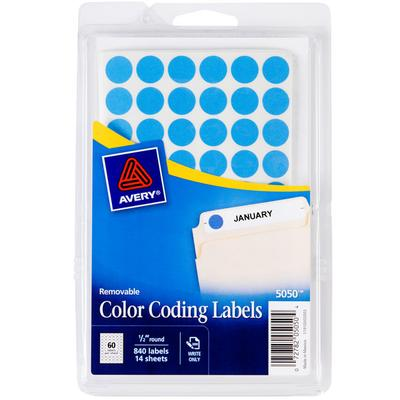 "Avery 5050 1/2"" Light Blue Round Removable Color Coding L..."