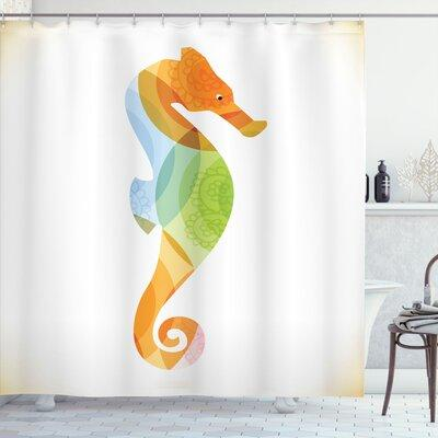 """Ambesonne Animal Silhouette of Sea Creature with Coral Reef Patterns Inside Aquarium Icon Shower Curtain Set sc_20912 Size: 84"""" H x 69"""" W"""