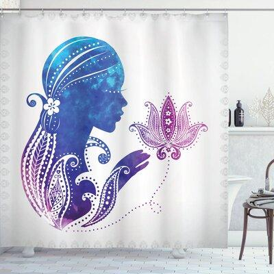 Ambesonne Lady with Floral Hair Art Shower Curtain Set sc...