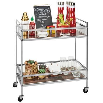 CAL-MIL 3719-49 Mid-Century Chrome Beverage Cart with 2 W...