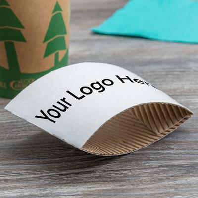 8 oz. White Customizable Coffee Cup Sleeve - 1800/Case