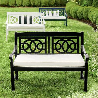 48-In. Amalfi Outdoor Bench - Solid White - Grandin Road