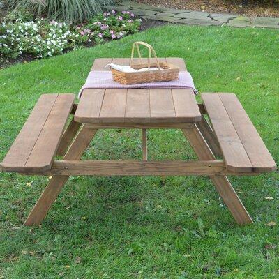 Loon Peak Oso Wooden Picnic Table LNPK6184 Finish: Linden...