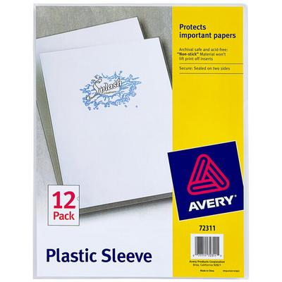 "Avery 72311 8 1/2"" x 11"" Clear Plastic Sleeve - 12/Pack"