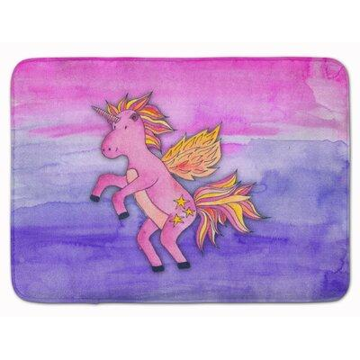 Zoomie Kids Zelma Unicorn Watercolor Memory Foam Bath Rug...