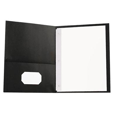 "Universal UNV57114 11"" x 8 1/2"" Black Two Pocket Paper Po..."