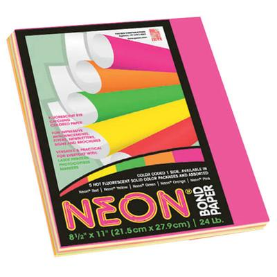 """Pacon 104331 8 1/2"""" x 11"""" Assorted Neon Color Pack of 24#..."""