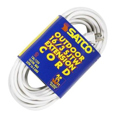 SATCO 95027 - 35' 16/3 SJTW White Extension Cord