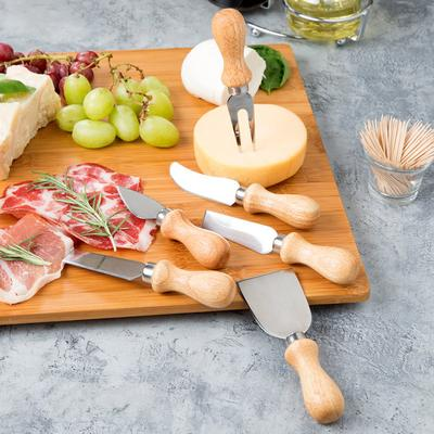 Winco 6-Piece Cheese Knife Set with Wooden Handles