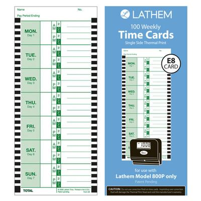 """Lathem Time E8100 4"""" x 9"""" Weekly Time Card - 100/Pack"""