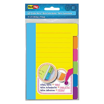 REDI-TAG 10245 Assorted Color Divider Sticky Note Pad wit...